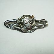 SALE Lg Art Nouveau Sterling Silver Lady Brooch
