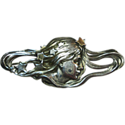 SALE Lg Art Nouveau Sterling Silver Lady Brooch