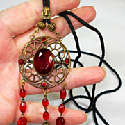 SALE Old Czech Egyptian Revival Deep Red Glass Slide Necklace