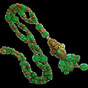 SALE Ornate Signd Czech Jadite Chrysophase Art Glass Negligee Necklace