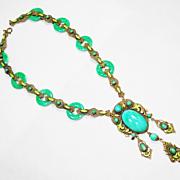 SOLD Elegant Old Czech Peking Glass Enamel & Jade Glass Rings Necklace