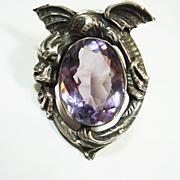 SALE Sterling Dragon Amethyst Glass Fur Clip 1932