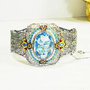 SOLD HUGE Art Deco Enamel Jeweled Filigree Bracelet SIGNED