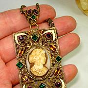 SALE HUGE OLD Czech Enamel Molded Glass Cameo Jeweled Necklace