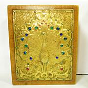 SOLD RARE Art Nouveau Foiled Peacock Eye Glass Jewelry Trinket Box