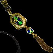 SALE RARE Figural Dragon Foiled Peacock Eye Art Nouveau Slide Necklace