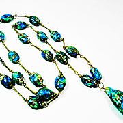SOLD LG Shimmering Art Deco Foiled Peacock Glass LONG Necklace