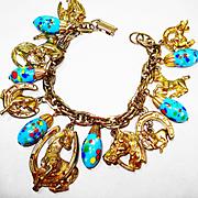 SALE Vintage Art Glass Horses Charm Bracelet
