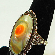 SALE Lg Arts & Crafts Sterling Blister Pearl Ring