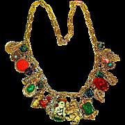 SALE LG Selro Oriental Art Glass Charm Necklace
