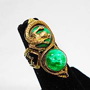 SALE Huge Old Czech Peking Glass Dragon Ring