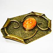 Huge Victorian Snakes Art Glass Sash Pin