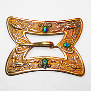 SOLD Lg Victorian Foiled Peacock Buckle Brooch Sash Pin