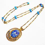 SALE Old Czech Dbl Sided Griffons Art Glass Necklace