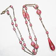 SALE LG Czech Gold Flecked Art Glass Sautoir Negligee Necklace