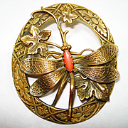 SALE PENDING Lg Victorian Jeweled Dragonfly Sash Pin