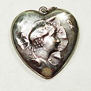 SALE LG Art Nouveau Flower Lady Puffy Heart Charm Necklace