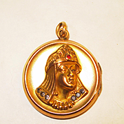 SALE PENDING Jeweled Victorian Egyptian Revival Queen Locket Necklace