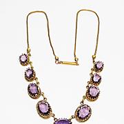 SALE Lg Fancy Set Amethyst Glass Victorian Necklace