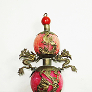 SALE Lg Chinese Export Dragon and Phoenix Pendant