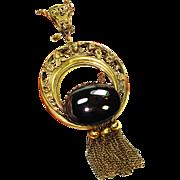 SALE Huge Art Nouveau Victorian Revival Black Glass Necklace