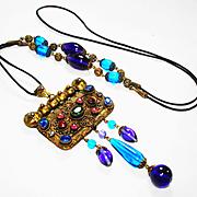 SALE PENDING Exotic Jeweled Edwardian Czech Marcasite Necklace