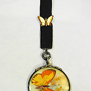 Finely Etched Sterling Dbl Sided Victorian Butterfly Necklace w Enamel