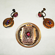 Retro Copper Jeweled Dragons Breath Art Glass Pin / Pendant & Earrings