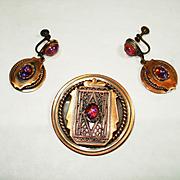 Retro Copper Jeweled Dragons Breath Art Glass Pin / Pendant & Earrings