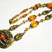 LG Ornate Victorian Entwined Snakes Czech Glass Necklace