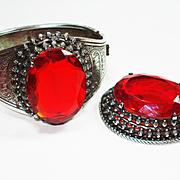 FAB Huge Jeweled Victorian Revival Bracelet & Brooch