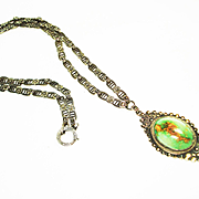 SALE Elegant Deco Marasite & Turquoise Sterling Silver Necklace