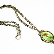Elegant Deco Marasite & Turquoise Sterling Silver Necklace