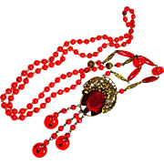 Lg Ruby Red Edwardian Czech Glass Sautior Necklace