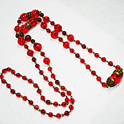 EX Long Czech Ruby Glass w Filigree Bead Necklace