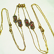 Victorian Jeweled Muff Chain Guard / Watch Chain Necklace