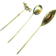 Victorian Sterling Blister Pearl Stick Pin Group