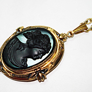 Czech Glass Victorian Revival Black Cameo Locket Necklace