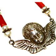 Vtg Sterling Angel Necklace w Coral & Pearls