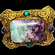 Czech Art Glass Suffragette Jeweled Hat Pin