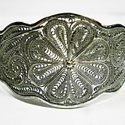 Vtg Wide Sterling Silver Filigree Cuff Bracelet