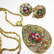 Signed Czech Art Glass Millefiori Necklace & Earrings