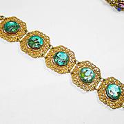 Old Czech Peacock Foil Art Glass Bracelet