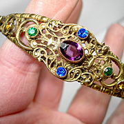 Exquisite Victorian Czech Jeweled Filigree Bangle Bracelet