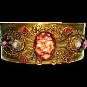 Ornate Jeweled Enamel Czech Art Glass Cuff Bracelet