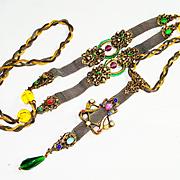 UNUSUAL Ornate Jeweled Victorian Nouveau Sautoir Necklace