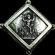 Victorian Sterling Silver Cherub Brooch C Clasp