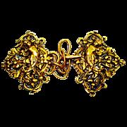 SALE Huge Victorian Cherubs Ornate Repousse Figural Cape Coat Clasp