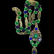 SALE Lg Art Deco Jeweled Czech Art Glass Necklace