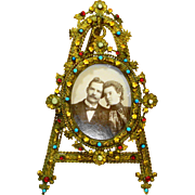 Victorian Czech Jeweled Picture Frame and Easel